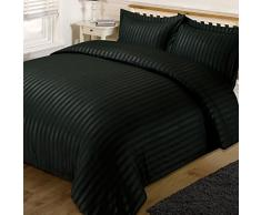 Dreamscene – Satin Stripe Copripiumino Matrimoniale con 2 federe Set di biancheria da letto, Nero, King