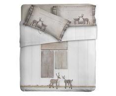 Ipersan Disegno Cervi Parure Lenzuola Fotografico Piazzato, 100% Cotone, Beige, Matrimoniale, 260x300x0.5 cm, 3 unità