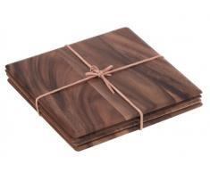 T&G Woodware Toskana Set 4 tovagliette rettangolari in Legno di Acacia con Fascia di Pelle