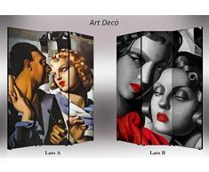 Separè bifacciale artistico Divisorio 3 ante su tela Art Deco 176x3.2x135.6 cm