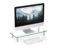 Relaxdays Supporto Monitor, Alzatina per TV, Standing Computer Desk, Rialzo Scrivania, Regolabile, 56x24 cm, Trasparente, Vetro, Acciaio Inox, Alluminio, 1pz