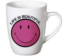 NICI Life is Beautiful - Tazza con Scritta e Smile in Porcellana, Colore: Rosa