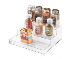 iDesign Organizer cucina, Piccolo scaffale cucina a 3 ripiani in plastica, Pratico porta spezie ideale anche per cibi conservati e barattoli, trasparente