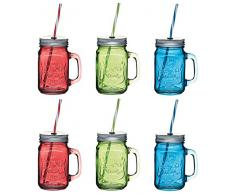 Kitchencraft Home Made bicchiere con cannuccia, vaso, verde (set di 6),, Vetro, Green, 11 x 7.2 x 13 cm