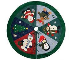 WeRChristmas-Decorazione Gonna Albero Di Natale Personaggio, Tessuto, Multicolore, 120cm, grande