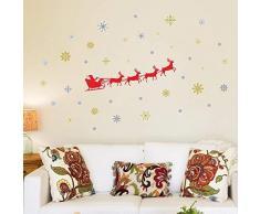 Wallflexi Decorazioni di Natale Adesivi da Parete Adesivi murali Slitta di Babbo Natale, per Salotto Bambini Scuola Materna Ristorante Hotel casa, Multicolore