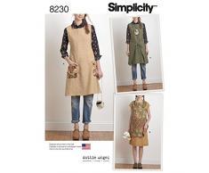 Simplicity Pattern 8230 Dottie Angel Grembiule da Donna Reversibile, Bianco