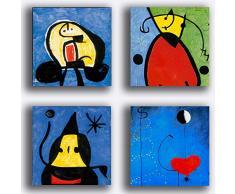 Quadri Moderni stile MIRO mirò blu 4 pezzi 30x30 cm Stampa su Tela CANVAS Arredamento Arte Astratto XXL Arredo per soggiorno salotto camera da letto cucina ufficio bar ristorante