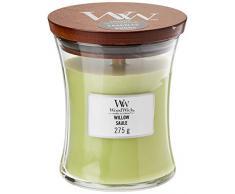 Woodwick Hourglass Candela Profumata Media con Stoppino Scoppiettante, Fino A 60 Ore, Verde (Salice), Medio
