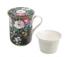 Maxwell & Williams wk01455Kilburn Tazza con Coperchio e colino da tè, Midnight Blossom, Confezione Regalo, Porcellana, Nero/Multicolore 3unità