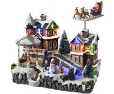 WeRChristmas - animata casa decorazione natalizia con Babbo Natale e slitta, multicolore, 25 cm