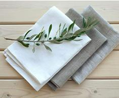 Set 3 Strofinacci - Canovacci lino - strofinacci da cucina in lino - 50 x 70 cm - bianco - naturale - naturale beige