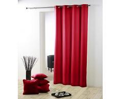 Douceur DIntérieur - 1600532, Tenda Con Occhielli , 140 X 260 Cm , Essentiel , Poliestere Unito , Rosso
