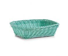 Zeller 18062 - Cestino rettangolare per pane, in plastica, colore: Acqua