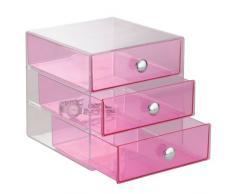 InterDesign Drawers Cassetti Porta Trucchi, Mini Cassettiera Di Qualità Per Make Up, Bijoux Ecc, Cubi Porta Cosmetici Con 3 Cassetti, Plastica Fucsia