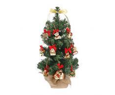 THUN ® - Albero di Natale h 11 x 11 x 60 cm con 10 Mini addobbi - Ceramica -