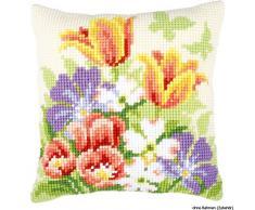 Vervaco - Fodera Anteriore da Cuscino, per Punto Croce, con Fiori Primaverili, Multicolore