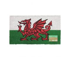 JVL - Zerbino in fibra di noce di cocco, retro in PVC, 40 x 70 cm, motivo: Dragone Rosso del Galles