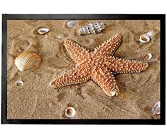 1art1 94619 - Zerbino con Stelle Marine e Conchiglie nella Sabbia, 60 x 40 cm
