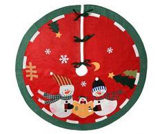 WeRChristmas-Pupazzo di neve Famiglia Albero di Natale gonna decorazione, Tessuto, Multicolore, 120cm, grande