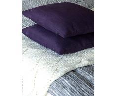 LinenMe 45 x 45 cm 1-Pezzo federa per cuscino Rustico Cushion, viola scuro