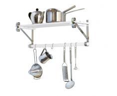 WENKO 2364100 Scaffale da parete Provence per la cucina, con asta per appendere oggetti e 6 ganci, in legno di pino, 75 x 25 x 24 cm, colore: Bianco