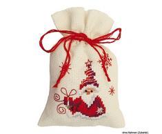 Vervaco PN-0147604 Ver - Sacchettino in Tela Aida, Motivo: Babbo Natale con Regalo