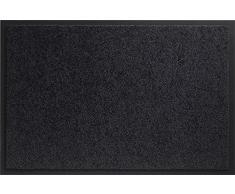 ID MAT 608005 Mirande - Tappeto zerbino in Fibre Nylon e PVC, gommato 80Â x 60Â x 0,9Â cm, Nero, 60 x 80 cm