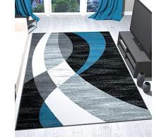 VIMODA Tappeto Moderno Design Nero Grigio Turchese, a Pelo Corto, a Strisce Curve, Facile da Pulire, Alta qualità , 160 x 230 cm