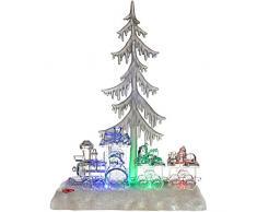 WeRChristmas-Decorazione albero di Natale musicale e treno scena a LED che cambia colore, Plastica, Multicolore, 35cm