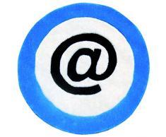 Simbolo mondo Moquette DEAT110 BLU-065 bambini rotonda mano Moretta acrilico Motif con Dos cotone blu 65 x 65 cm