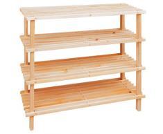 Relaxdays Scaffale a 4 ripiani in legno porta scarpe con le seguenti misure (B x H x T) : ca. 74 x 67 x 26 cm Scarpiera salvaspazio modello XXXL in legno con 4 ripiani in tutto Portascarpe 100% legno