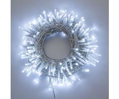 XMASKING Catena 13 m, 180 miniled Bianco Freddo, con Memory Controller, Cavo Trasparente, addobbi Natalizi, Catene luci per Albero di Natale, Decorazione Luminosa