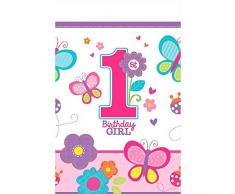 amscan - Tovaglia in plastica, per Compleanno di Bambina, 1,3 cm x 2,4 m
