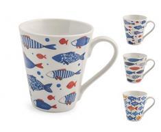 Royal Norfolk Set 6 Tazze Mug, Porcellana, Decoro Pesci, cc300
