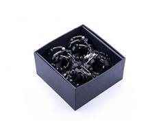 LegendArte LH-035 Allacciatovaglioli Anelli Portatovaglioli Gioiello, Metallo, Argento/Nero, 14x14x7 cm, 4 unità