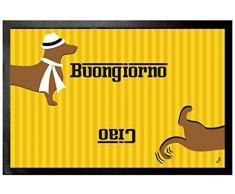 1art1 Bassotti - Signore Bassotto, Buongiorno, Ciao Zerbino (60 x 40cm)