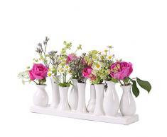 Set di vasi in Ceramica per Fiori, vasi in Ceramica Bianca, Vaso per Fiori e Piante, in Ceramica, Set Decorativo (10 vasi, Bianco)