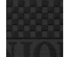 Deco Tapis - Zerbino a Forma di Mezza-Luna, Motivo Bonjour, in Polipropilene/cao, Dimensioni: 75 x 45 cm Nero