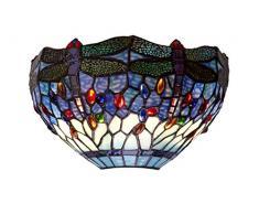 Tiffan y luz Belle Epoque Applique 2xE-14, Blu, 30 x 18 cm