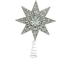 WeRChristmas - Puntale per albero di Natale, a forma di stella con brillantini, 21 cm, in plastica infrangibile, colore: argento