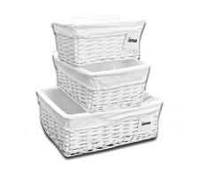 ARPAN Set di 3 cesti Fodera in Tessuto, Mostrato in Vimini Bianco, Large, Medium, Small