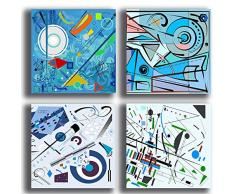 Quadri Moderni stile KANDINSKY blu celeste 4 pezzi 30x30 cm Stampa Tela CANVAS Arredamento Arte Astratto XXL Arredo per soggiorno salotto camera da letto cucina ufficio bar ristorante