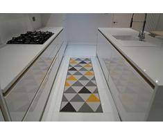 Serdim Rugs Gelback Tappeto Antiscivolo dal Design Geometrico per Cucina e corridoi Multiuso – tappetini, Oro, 67x220cm(22 x73)