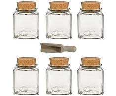 Viva Haushaltswaren, Set di portaspezie con tappo in sughero, 6 pz. da 200 ml, incl. Palettina in legno, 7,5 cm