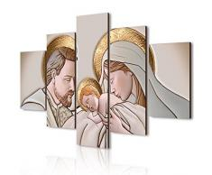 Lupia Quadro Sacra Famiglia 5 Pezzi in Legno Vogue 66X115 cm The Kiss Ceramic