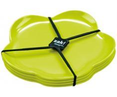 ZAK Designs 0204-4550 - Set di 4 Piatti da Dessert Picnic, 14 cm, Colore: Verde