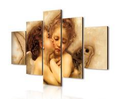 Lupia Quadro Moderno 5 Pezzi in Legno Vogue 66X115 cm Il Primo Bacio