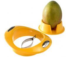GSD 33027 Affettatrice per mango con supporto, acciaio inossidabile, argento / giallo