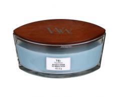 Woodwick Ellipse Candela Profumata con Stoppino Scoppiettante, Cotone E Sale Marino, Fino A 50 Ore, Transparente, 9.9 x 9.8 cm
